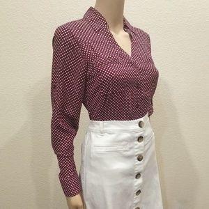 Express Garnet White Polka Dots Portofino Shirt XS